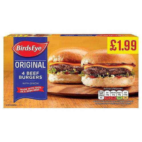 Birds Eye 4 Orig Beef Burgers