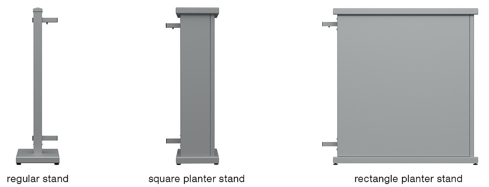 Examples of regular stands, square planter stands, and rectangle planter stands