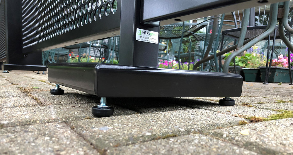 SIdewalk partition stand base with adjusted leg levelers