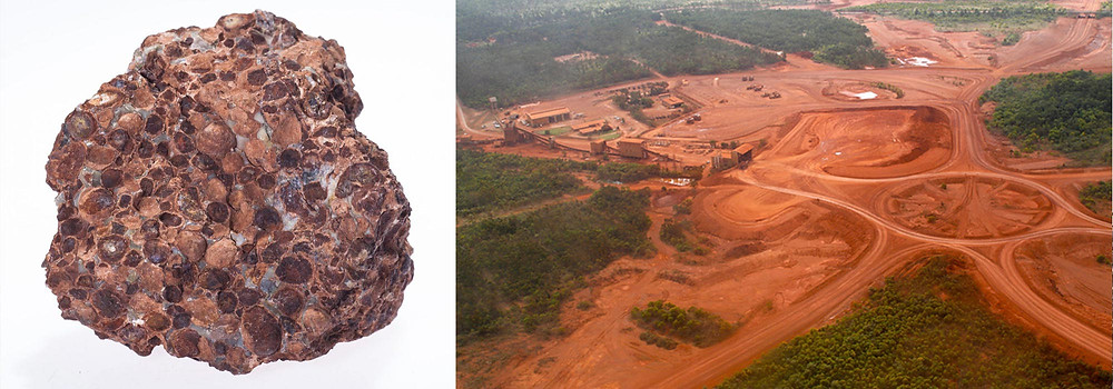 Bauxite ore and an open-pit mine