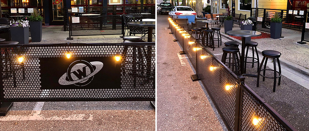 Restaurant patio decorated with string lights