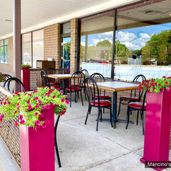 Custom Color Planter Stands and Square Weave Panels at Mancino's of St Johns, MI