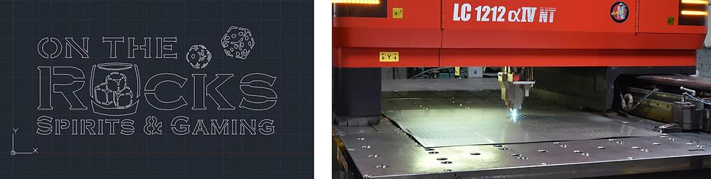 Laser-cut logo file and laser-cutting machine