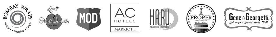 Customer Logos: Bombay Wraps, Stan's Donuts, MOD Pizza, AC Hotels, Haru, Proper 21, and Gene & Georgetti