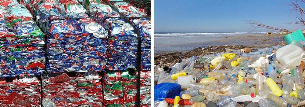 Compress Aluminum cans for recycling compared to plastic bottles on a beach