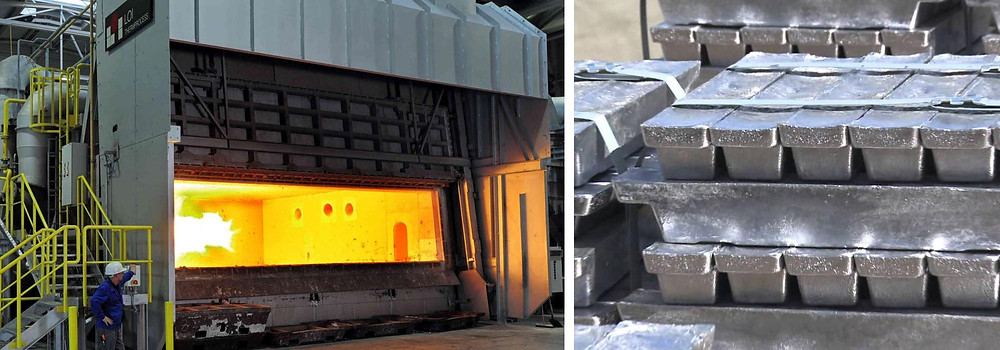 Aluminum melting furnace and ingots