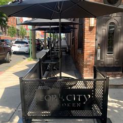 Sidewalk Cafe with SelectSpace logo lasercut panels