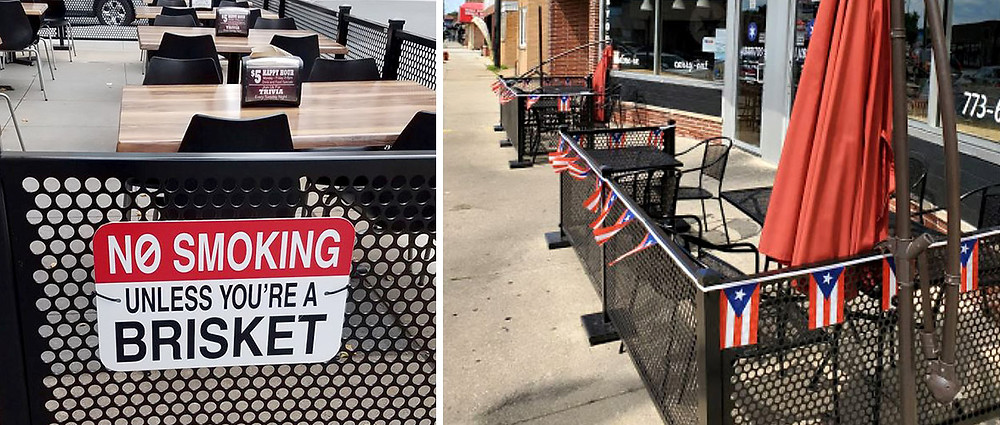 Outdoor restaurant patios decorated with signs and flags