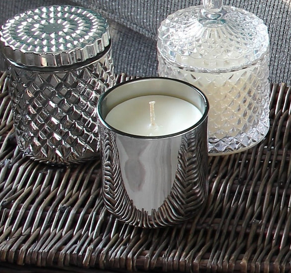 Silver  Wood Wick Candle