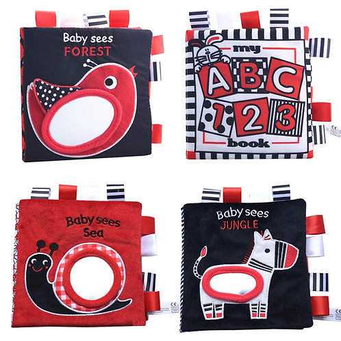 Infant Vision Black & White Touch & Feel Cloth Book -Montessori Educational Toys
