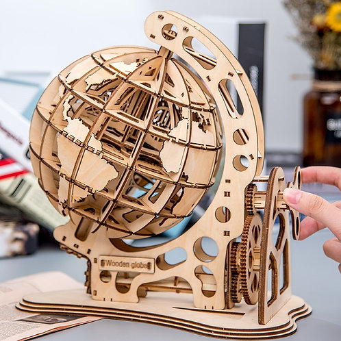 3D Globe Wooden Puzzle DIY Assembly - Montessori Educational Toys