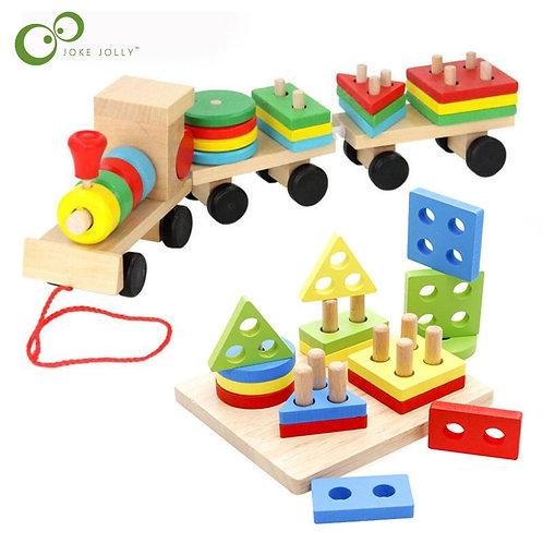 Wood Train Set Geometric Sorting - Montessori Educational Toy