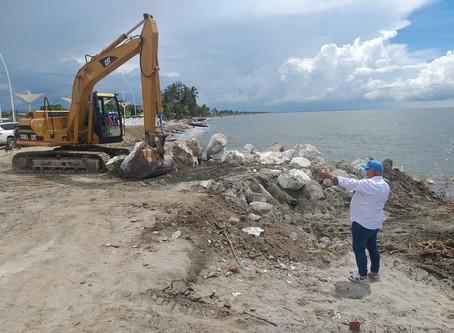 Construyen espolones con roca sólida para evitar Erosión Costera en Ciénaga, Magdalena