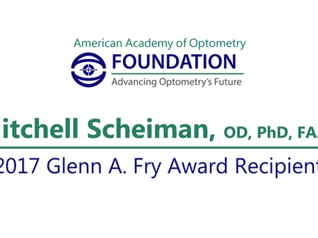 OMT CMO AWARDED GLENN A. FRY LECTURE AWARD BY AMERICAN ACADEMY OF OPTOMETRY
