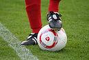 Listones en el balón de fútbol