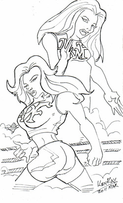 Slamazon and Juggznaut Quick Sketch by Ken Ray.jpg