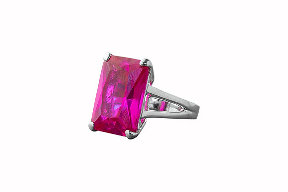 Anillo de Latón con Swarovski Rectangular color Rosa