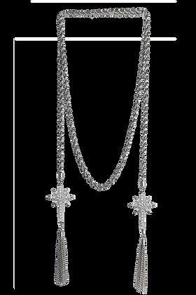 Cadena Torzal con Estrellas con Swarovski Blanco