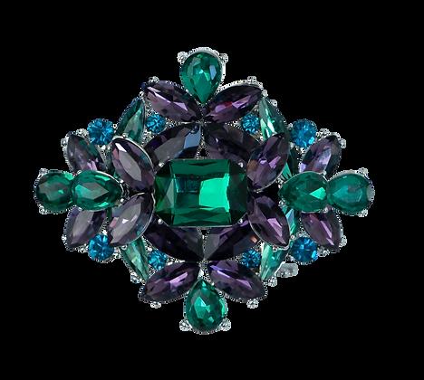 Broche con Piedra Azul, Verde y Púrpura.