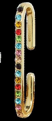Ear Cuff Dorado con Cristal Multicolor