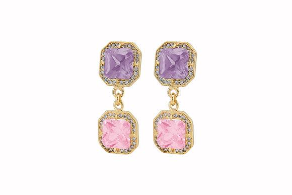 Aretes dobles de plata con Swarovski lila y rosa