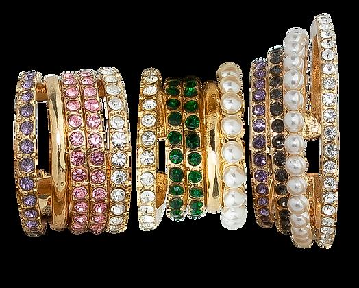 Trío de Pendientes Dorados con Cristales Multicolor