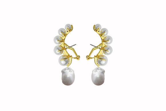 Aretes de Latón con Perlas Cultivadas y Natural