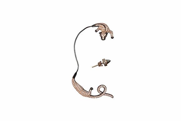 Ear Cuff Jaguar Rosado y Negro con Zirconia Blanca
