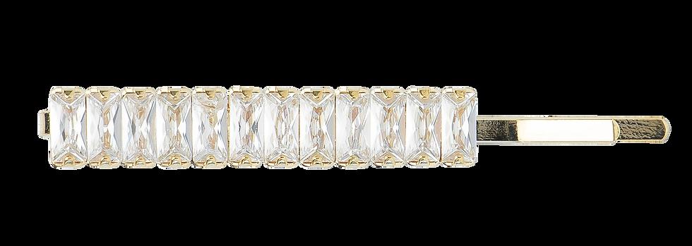 Pasador Dorado con Piedra Blanca