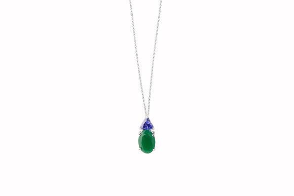 Cadena de Plata con Piedra Verde y Azul