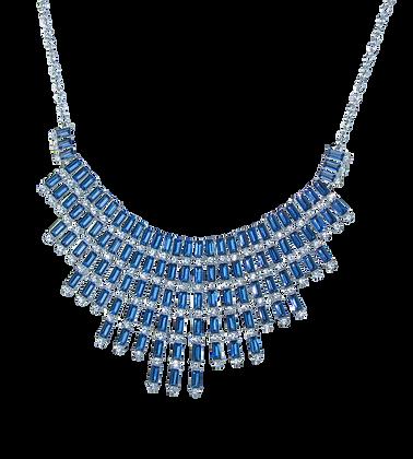 Collar con Cristales Azules con Blanco.