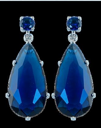 Aretes Largos con Swarovski Azul