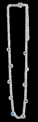 Cadena de Plata con Pavee Multicolor