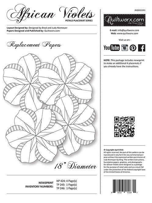African Violet Placemats Replacement Paper Pack