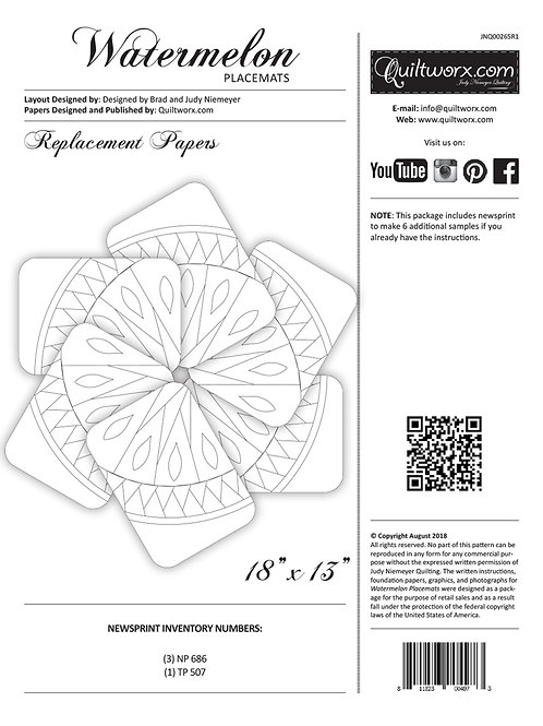 Watermelon Placemats Replacement Papers