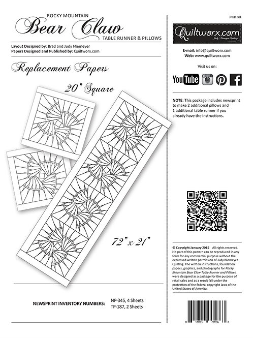 Rocky Mountain Bear Claw Table Runner Replacement Papers