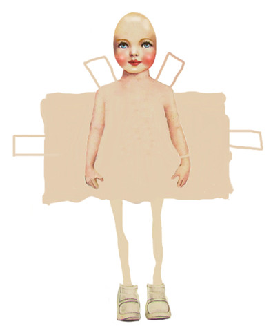 Eve, Digital Image  Paperdolls is a series of digitally created paperdoll cut-outs. They are a commentary on the increasing sexualisation of young girls, and how their innocence is dissected by cultural expectations.
