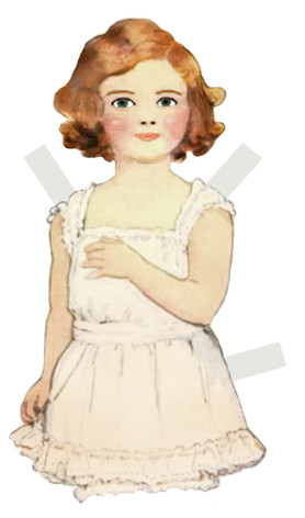 Mabel, Digital Image  Paperdolls is a series of digitally created paperdoll cut-outs. They are a commentary on the increasing sexualisation of young girls, and how their innocence is dissected by cultural expectations.