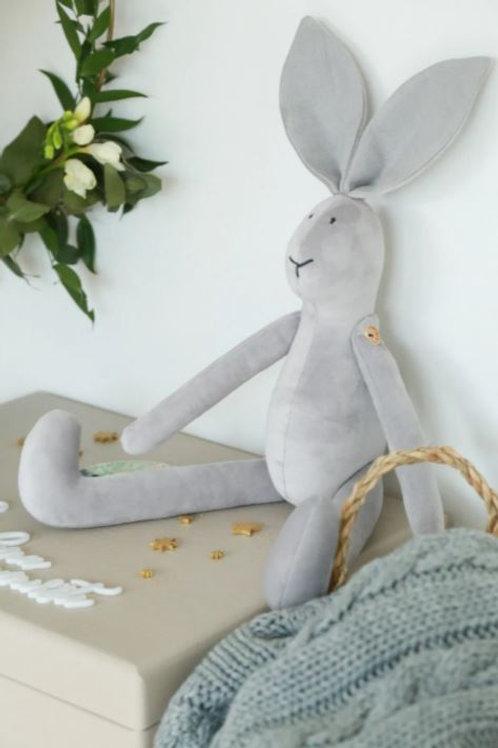 Minkštas žaislas - pilkas zuikutis
