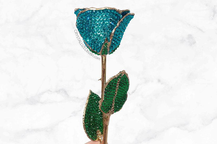 Teal Blue CRYSTALLIZED Preserved Rose