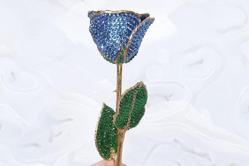 Light Sapphire Blue CRYSTALLIZED Preserved Rose