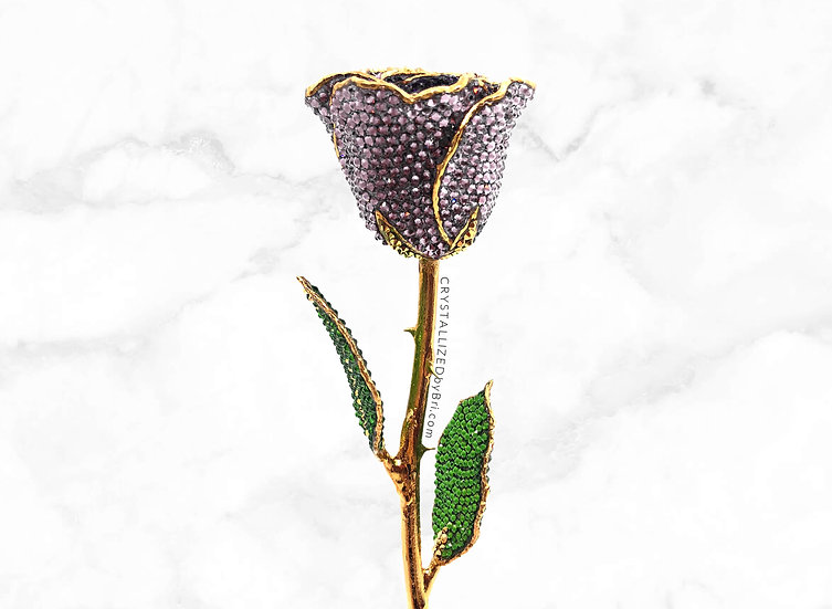 Light Purple CRYSTALLIZED 24k Gold Dipped Rose