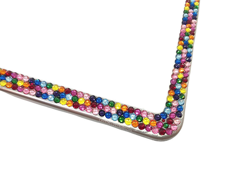 CRYSTALL!ZED License Plate Frame - Rainbow Mix