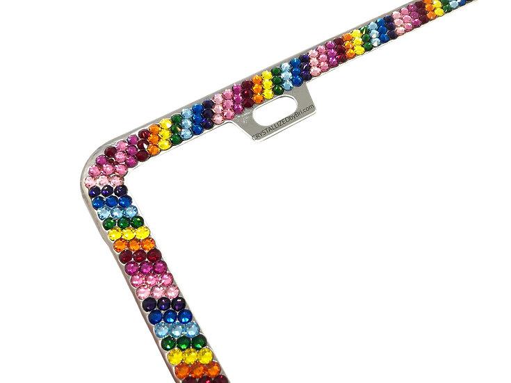 CRYSTALL!ZED License Plate Frame - Rainbow Stripe