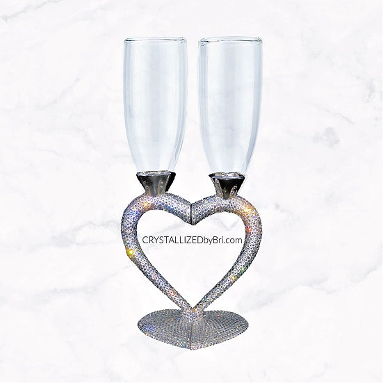 CRYSTALL!ZED Heart Champagne Flutes - Pair
