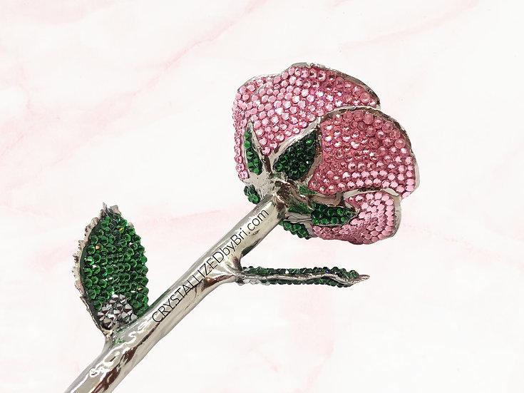 Pink CRYSTALLIZED Platinum Dipped Rose