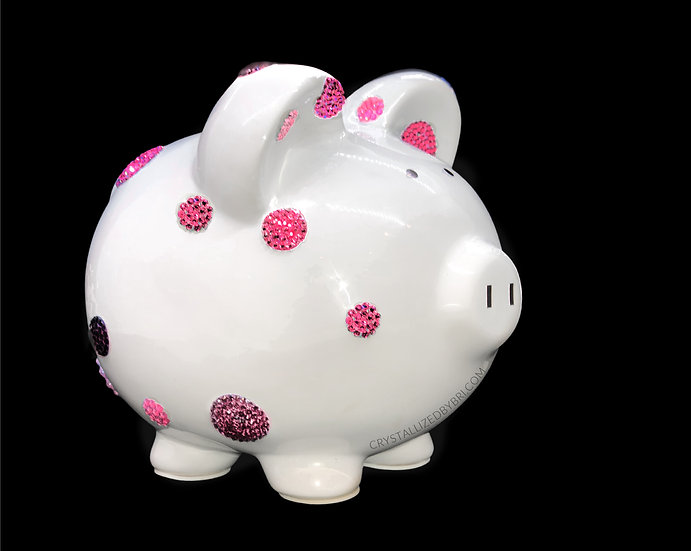CRYSTALL!ZED Polka Dot Piggy Bank - Pink