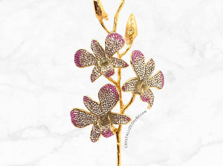 New! CRYSTALLIZED 24k Gold Dipped Orchids