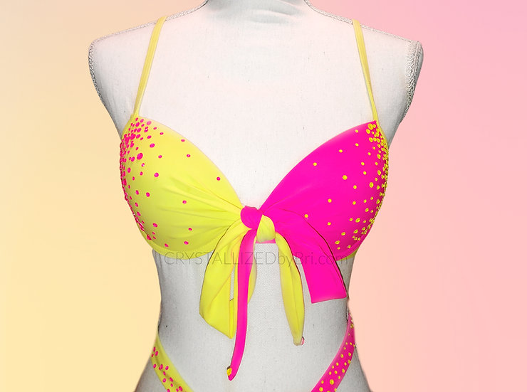 Custom CRYSTALLIZED Neon Bikini - Top