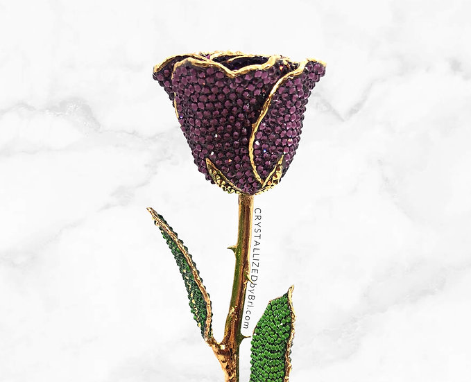 Purple CRYSTALLIZED 24k Gold Dipped Rose